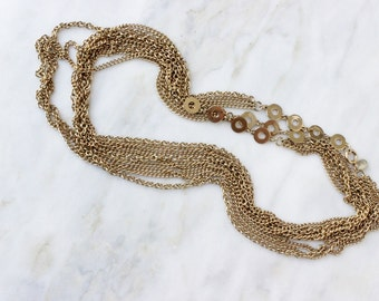 60s - Multi Strand - Necklace - Gold - Chain - Long - 62 Inch - Signed - PARK LANE