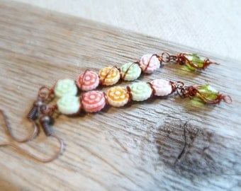 Wire Wrapped Flower Dangle Earrings, Long Dangle Earrings, Copper Flower Jewelry, Copper Wire Earrings, Pastel Flower Jewelry