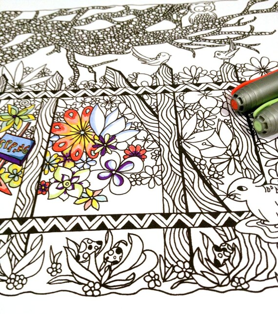 adult coloring page spring scene woodland doodle nature design. Black Bedroom Furniture Sets. Home Design Ideas