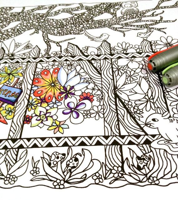 Adult Coloring Page Spring Scene Woodland Doodle Nature Design