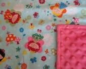 Soft Baby Blanket- Flannel/ Minky Fabic - Stroller Blanket- Small Recieving Blanket- Lovey- Security Blanket