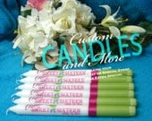 Six Birthday Special Occasion Two Tone Taper Candles Personalized