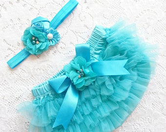 Turquoise Vintage Chiffon Baby bloomer ruffles tutu and headband set. Diaper cover Newborn, infant, toddler  tutu 0-18 months