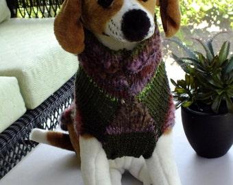 "Christmas Dog Coat Hand Knit Cable Medium 15"" inches long"