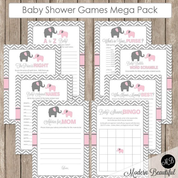 elephant baby shower game pack in pink and gray baby shower activity
