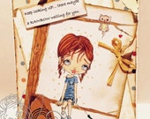 Digi Stamp Digital Instant Download Kawaii Big Eye Girl and Kitten in Tree - Caroline & Petey Image No. 195 by Lizzy Love