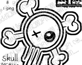 INSTANT DOWNLOAD Digital Stamp Girly Skull & Crossbones Image No. 240 by Lizzy Love