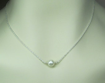 Real Pearl Necklace Bridesmaid Jewelry Single Pearl Necklace Bridesmaid Necklace Bridesmaid Gift Wedding Jewelry Pearl Bridal Necklace