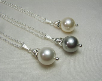 Bridesmaid Jewelry Pearl Bridesmaid Necklace Set of 3 Bridesmaid Pearl Necklace Bridal Jewelry Wedding Jewelry