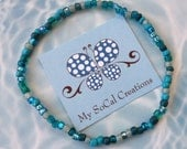 Turquoise & Teals Beaded Boho Bracelet-Boho Chic-Single Strand Bracelet-Stackable
