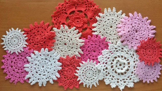 14 Small Craft Doilies, Vintage Hand Dyed Doilies