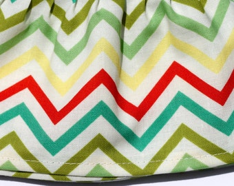 Red Yellow Turquoise and Green Chevron, Tweet Emily Hayes - Fancy Ruffled Rubber Gloves - Cleaning Gloves - Dishwashing Gloves