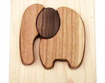 Wooden Classic Elephant Puzzle // Natural, Organic, Chunky Wood Montessori Baby Toy // Eco Friendly Toy Wood Toy Puzzle