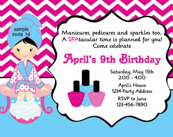 Spa Party Invitation Spa Birthday Party Blue Pink Chevron - Digital JPEG File #14
