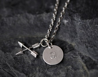 Crossed Arrows Initial Necklace, Silver Arrow Monogram Necklace, Love Arrow Monogram Necklace, Custom Arrow Charm Necklace