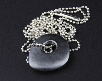 Large Skipping Pebble Pendant Necklace: Oxidised Sterling Silver