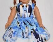 Handmade Blue and White Penguin Family Print Dress Fits American Girl Doll