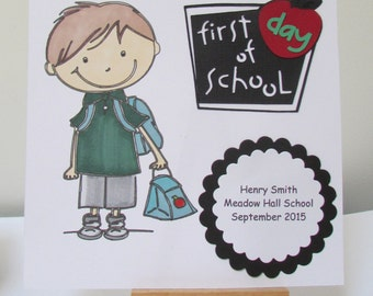 Personalised First Day At School Card - For A Boy