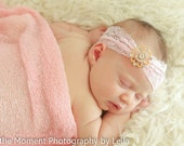 Gold Rhinestone Button Headband, any COLOR Baby Headband - Lace Legacy Collection, Madison