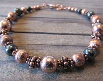 Beaded Copper & Magnetic Hematite Bracelet II in Antiqued Copper with Handmade Beads, Artisan