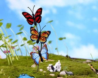 10pcs   4cm Buttlefly   Mininature Figurine/Terrarium Figurine Mixed Colors