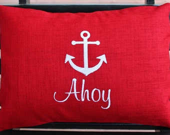 Anchor Outdoor Pillow Cover in Cherry Red | Monogrammed | Gift | Embroidered | Wedding
