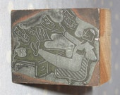 Antique Press Metal on Wood Block Stamp Advertising Newspaper - Cartoon Comic Man Successful Business Money