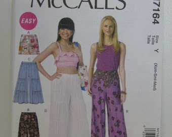 Wide Leg Pants & Shorts Pattern, Mc Calls 7164, Summer Pants Pattern, Easy Mc Calls Pattern, Size XS through M, 4 through 14, Uncut