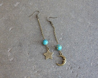 Moon of My Life Earrings in Brass
