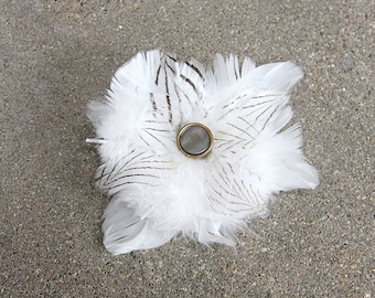 Striped Feather Fascinator with Vintage Glass Button