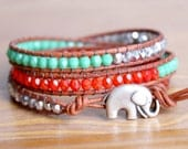 Southwestern, Red, Silver, Turquoise Bohemian beaded leather wrap, good luck bracelet, elephant trendy jewelry, hipster, gift idea