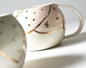 unique coffee mug. GOLDEN GLOBE cup. large tea cup. porcelain mug porcelain cup. white, pastel, gold. modern ceramic cup, unique pottery mug