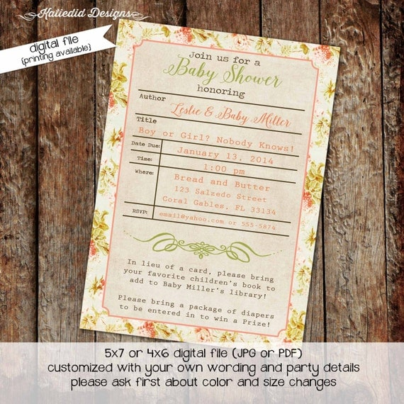 library card baby shower invitation gender neutral bring a book stock the library gender reveal couples (item 1450) shabby chic invitations