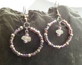 Hoop Earrings with Pink and Silver Beads Gift From Scotland, Scottish Jewelry White Sea Glass