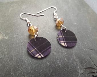 Scottish Tartan Earrings, Lightweight Plastic, Green Plaid Clan Gordon Jewelry, Scottish Highland Dance