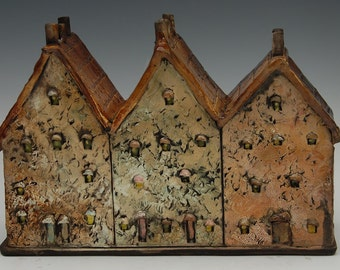 Ceramic Sculpture Hand Made Ceramic Row Homes Houses Three in a Row