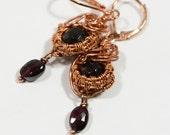 ON Sale Garnet Earrings Handmade Wire Wrapped Earrings Gemstone Earrings.Birthstone Earrings