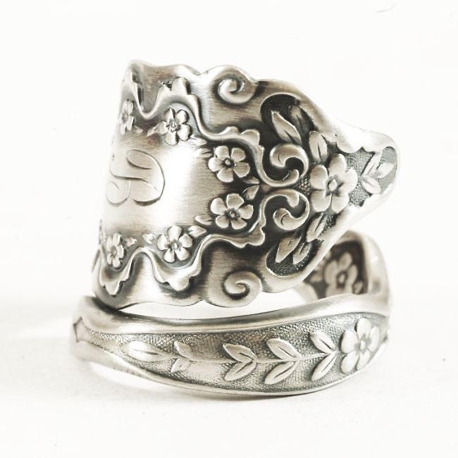 antique sterling silver spoon ring forget me not by spoonier