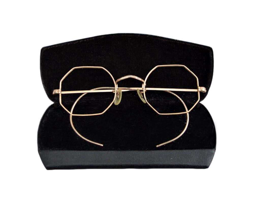 All Gold Glasses Frames : Vintage Bishop All Gold Thin Hexagonal Frame Eyeglasses Made