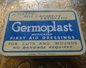 Vintage English Germoplast first aid dressing tin box storage container circa 1940's / English Shop