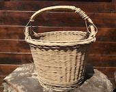 Vintage French farmer apple fruit picking harvesting wicker wood basket circa 1950s / English Shop