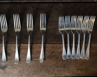 Vintage English 10 forks large dinner and small pudding cake cutlery circa 1930's / English Shop