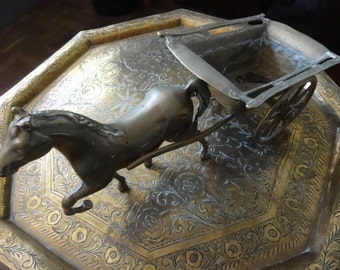 Vintage English horse and cart figure figurine statue brass circa 1950's / English Shop