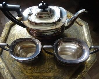 Vintage English EPNS silver plate metal tea set pot milk and sugar jug circa 1930's / English Shop