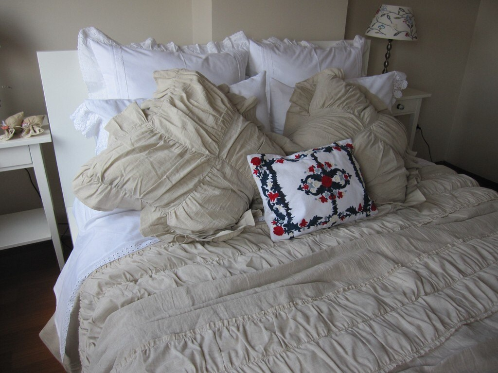 Ivory Shabby Chic Bedding: Ruched Bedding-Shabby Cottage Chic Duvet Cover Full Queen