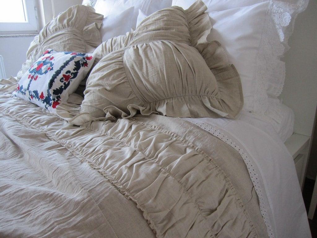 White Decorative Pillow Shams : Ruched bedding-Linen euro pillow SHAMs Ivory White by nurdanceyiz