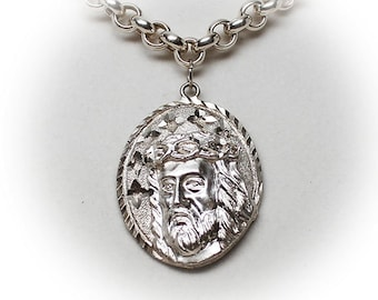 Sterling Silver Chain with Christ Pendant