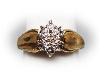 10K Gold Ladies Marquis Shaped Cluster Ring with diamond accents