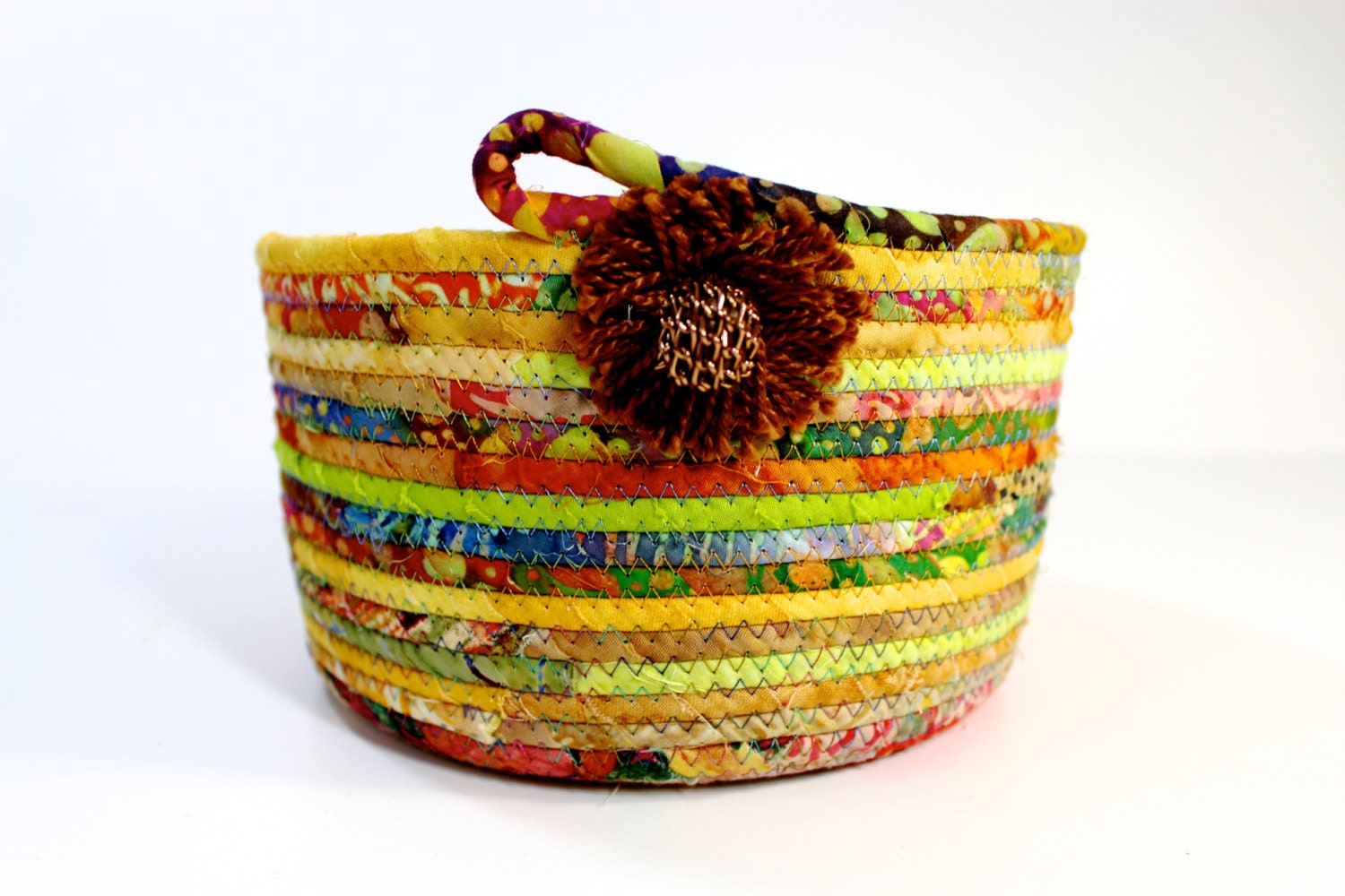 Handmade Rope Basket : Scrappy coiled rope basket bowl handmade by sallymanke on etsy