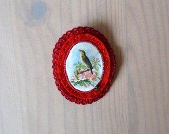 red felt brooch with bird - victorian print bird brooch - red lightweight brooch - blossom brooch - gift for her